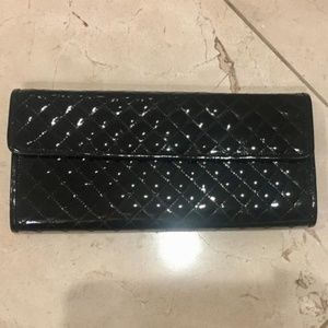 Saks Fifth Avenue Black Patent Leather Clutch